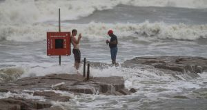 Galveston, Texas:  Choppy waves are kicked up by approaching Hurricane Laura. Photograph: Thomas B. Shea/Getty Images.
