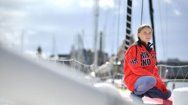 Greta Thunberg onboard the Malizia II yacht in Plymouth, England, ahead of her transatlantic voyage to New York last August. Photograph: Ben Stansall/AFP via Getty Images