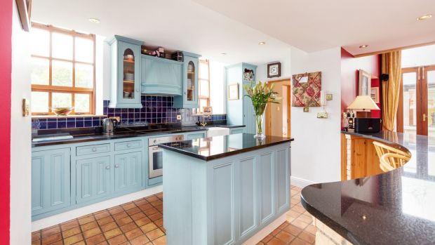 The Old School House at Strawberry Beds in Dublin features an open-plan kitchen/living/dining area