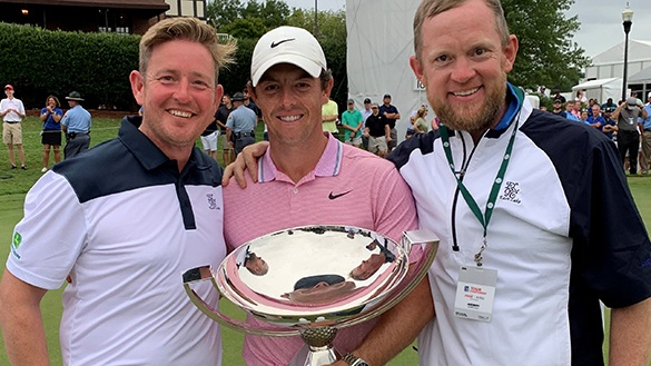 Eamonn McCarthy (right) with his friend Damien McConway from Co Derry and Rory McIlroy at the PGA tour championship finals at East Lake Golf Club in Atlanta, Georgia, which McIlroy won last year