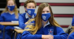 Transition year students wear face masks on their first day back at school at Mount Sackville Secondary School in Chapelizod. Photograph: Alan Betson