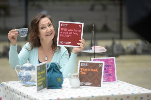 Pauline McLynn, who played Mrs Doyle in Father Ted, at the launch of An Post stamps to celebrate 25 years of the TV series, at the GPO in Dublin. Photograph: Dara Mac Dónaill / The Irish Times