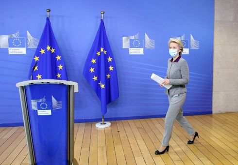 President of the European Commission Ursula von der Leyen arrives for a press conference following the resignation of the EU trade commissioner Phil Hogan, in Brussels. Photograph: Francois Walschaerts/EPA