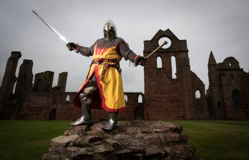 Historical actor Harry Brechin at Arbroath Abbey to mark the 700th anniversary of the Arbroath Declaration, a document attempting to confirm Scotland's status as an independent sovereign state. Photograph: Jane Barlow/PA Wire