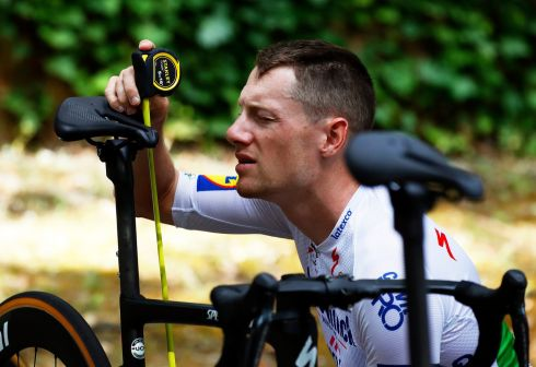 Irish cyclist Sam Bennett of the Deceuninck Quick-Step team adjusts his saddle before a training session two days ahead of the 107th edition of the Tour de France in Valbonne, France. The 107th edition of the Tour de France will start in Nice on August 29th. Photograph: Sebastien Nogier/EPA