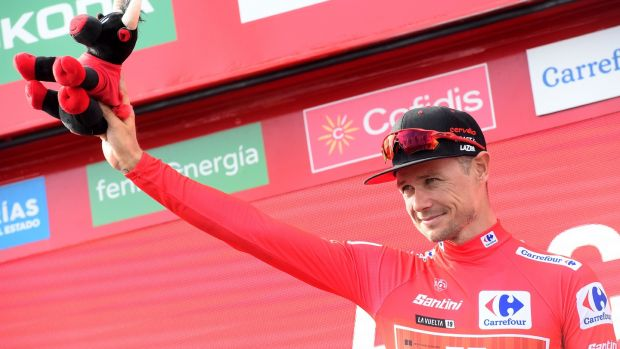 Nicolas Roche wears the leader's red jersey after the third stage of the 2019 Vuelta. Photograph: Jose Jordan/Getty/AFP