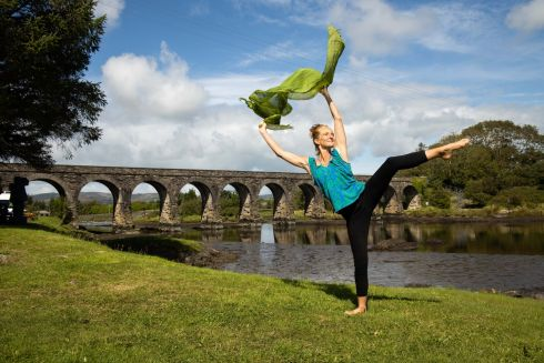 AT FULL TILT: Tara Brandel from Croí Glan Dance Company who will perform Tilt, an aerial dance theatre show on September 18th, at Skibbereen Farmers' Market as part of Cork County Culture Night. Photograph: Darragh Kane