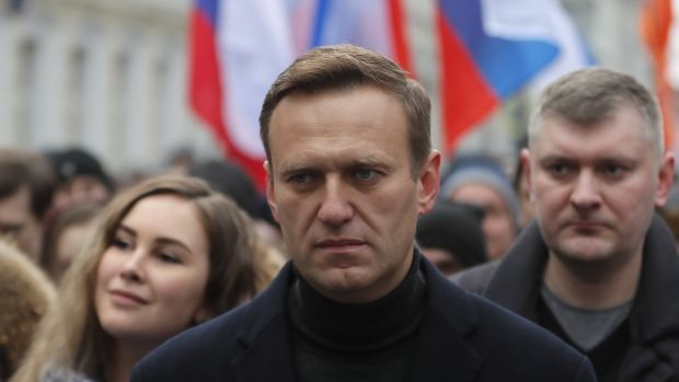 Russian opposition leader and anti-corruption activist Alexei Navalny takes part in a memorial march for Boris Nemtsov marking the fifth anniversary of his assassination in Moscow, Russia, in February. Photograph: Yuri Kochetkov/EPA