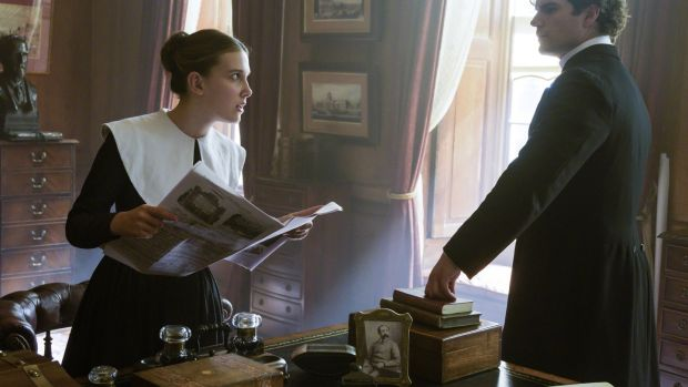 Millie Bobby Brown and Henry Cavill in Enola Holmes. Photograph: Alex Bailey/Netflix