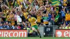 Ryan McHugh celebrates scoring his side's first goal in front of Donegal fans. Photograph: Donall Farmer/Inpho