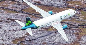 Manchester and Edinburgh are among six regional UK airports bidding to have the Aer Lingus craft  for transatlantic services. Photograph: Frank Grealish
