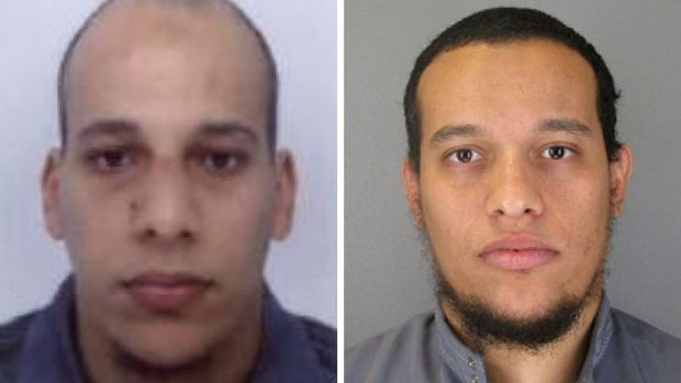 Photos released by French police in Paris of Chérif Kouachi (left, then aged 32), and his brother Said Kouachi (then 34), after their assault on satirical weekly Charlie Hebdo in Paris. File photographs: French Police/AFP/Getty