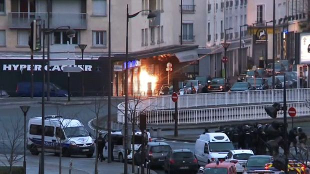 A screengrab from an AFP TV video shows French police special forces launching an assault at the Hyper Cacher store at Porte de Vincennes, eastern Paris, after Amedy Coulibaly had taken hostages, on January 9th, 2015. File photograph: Gabrielle Chatelain/AFP TV/Getty