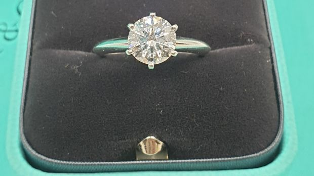 Tiffany solitaire ring, 1.27cts F colour and VS2 clarity, €9,000-€12,000 at John Weldon