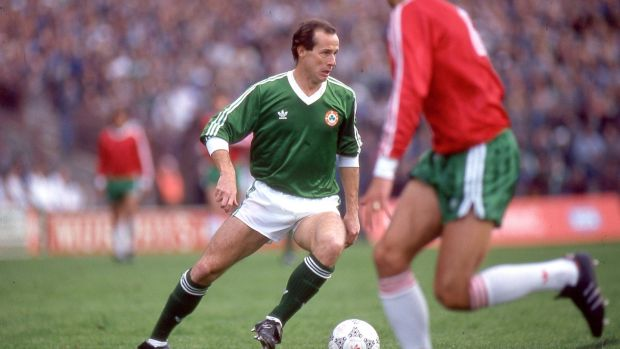 Liam Brady in action for Ireland against Bulgaria at Lansdowne Road in a European qualifier in 1987. Photograph: Billy Stickland/Inpho