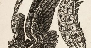 The harpy, a woodcut print by Melchior Lorch, 1582. Copyright the trustees of the British Museum