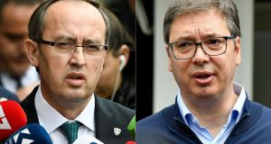Composite image of Kosovo's prime minister Avdullah Hoti  (L) and Serbian president Aleksandar Vucic. Photos: Armend Nimani and Andrej Isakovic/AFP via Getty Images