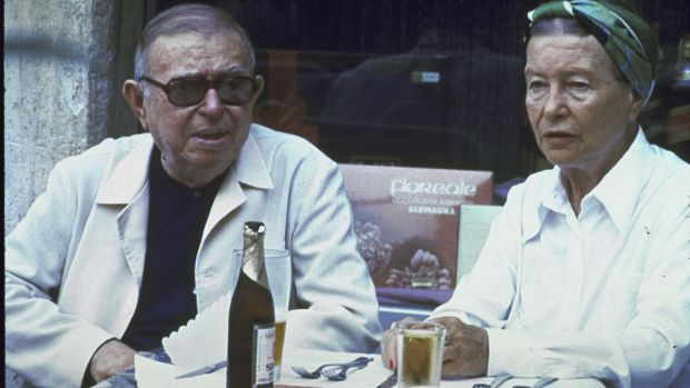 Jean-Paul Sartre and Simone de Beauvoir in an outdoor cafe in the Piazza Navona. Photograph: Francois Lochon/Time Life Pictures/Getty Images)