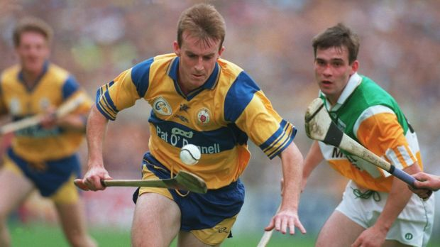 Clare's Fergus Tuohy and Johnny Pilkington of Offaly in action during the 1995 All-Ireland hurling final. Photograph: Inpho