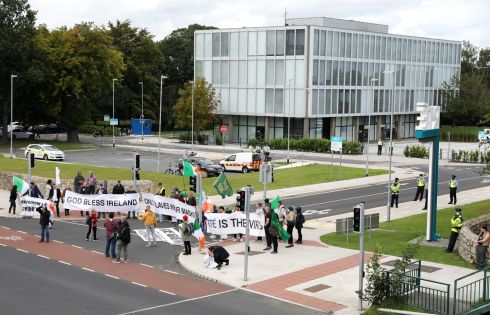 RTÉ PROTEST: A demonstration outside RTÉ studios complaining about RTÉ's Covid-19 coverage. Photograph: Crispin Rodwell/The Irish Times