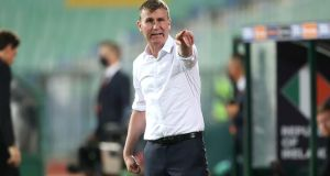 Republic of Ireland manager Stephen Kenny during the game. Photograph: Kostadin Andonov/Inpho