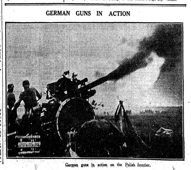 'German guns in action' - published September 3rd in The Irish Times