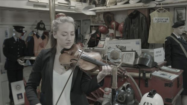 Classical violinist and fiddler Aoife Ní Bhriain on site in the Fire Brigade Training Centre in the Coombe