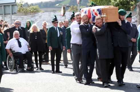 The funeral of Brett Savage, the 32-year-old former Royal Irish Regiment soldier who took his own life this week after suffering from PTSD following service in Afghanistan, makes its way through his home town of Newtownards, Northern Ireland. Photograph: Steven Davidson