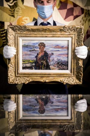 Jack B. Yeats' Kerry Fisherman, estimate £70,000-£100,000, goes on view at Sotheby's in London. The Irish Art auction will take place there on September 9th. Photograph: Tristan Fewings/Getty