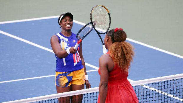 Serena Williams with Sloane Stephens after her third round US Open win. Photograph: Al Bello/Getty