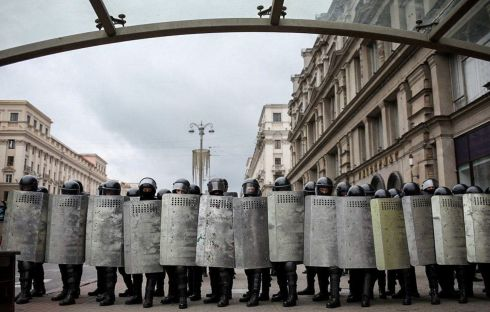 Belarusian riot police block a street during a rally to protest against the disputed August 9th presidential-election results in Minsk. Photograph: TUT.BY/AFP/Getty