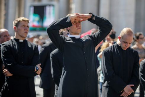 A priest attends Pope Francis' Angelus prayer at Saint Peter's Square in Vatican City. Photograph: Fabio Frustaci/EPA
