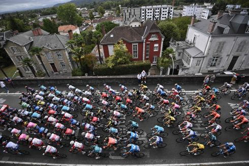 Riders take the start of the 9th stage of the 107th edition of the Tour de France cycling race, 154 km between Pau and Laruns. Photograph: Anne-Christine Poujoulat/AFP/Getty
