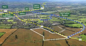 An aerial view of the Sallins land shows its proximity to both the eagerly-awaited bypass and  M7.