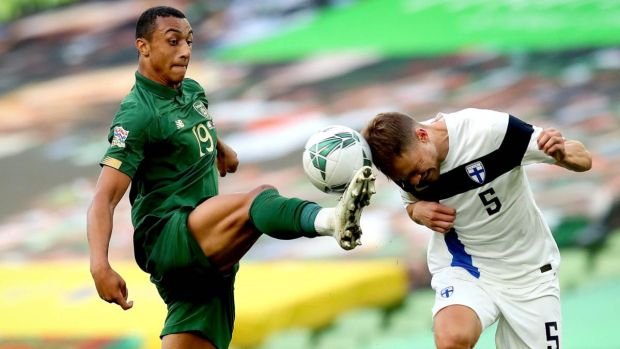 Ireland's Adam Idah in action against Leo Väisänen of Finland during the Uefa Nations League game at the Aviva Stadium. Photograph: Ryan Byrne/Inpho