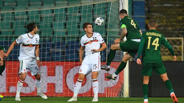 Shane Duffy heads home Ireland's equaliser against Bulgaria in Sofia. Photograph: Vassil Donev/EPA