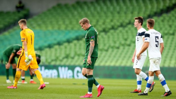 Ireland's James McClean after the defeat to Finland. Photograph: Ryan Byrne/Inpho