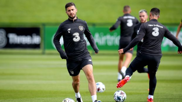Shane Long taking part in Ireland training at Abbotstown. Photograph: Ryan Byrne/Inpho