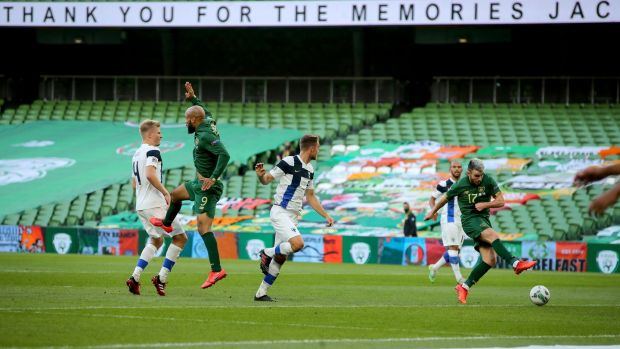 Ireland's Aaron Connolly takes a shot on goal during the Finland game. Photograph: Ryan Byrne/Inpho