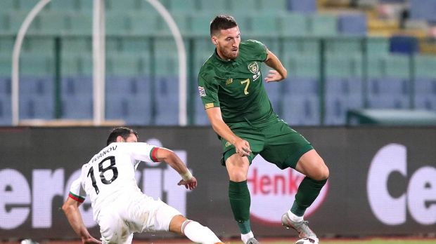 Ireland's Matt Doherty in action against Galin Ivanov of Bulgaria during the Uefa Nations League game in Sofia. Photograph: Kostadin Andonov/Inpho