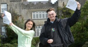 Leaving Cert students Micah Darcy and Robert Meehan, from Malahide Community School in Co Dublin. Photograph: Dara MacDónaill/The Irish Times