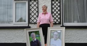 Mary Bartley-Meehan who lost  her husband (left) Ultan Meehan and son Adrian Bartley (right)  to Covid 19. They were both in Kilbrew Nursing Home in Ashbourne.  Photograph: Alan Betson