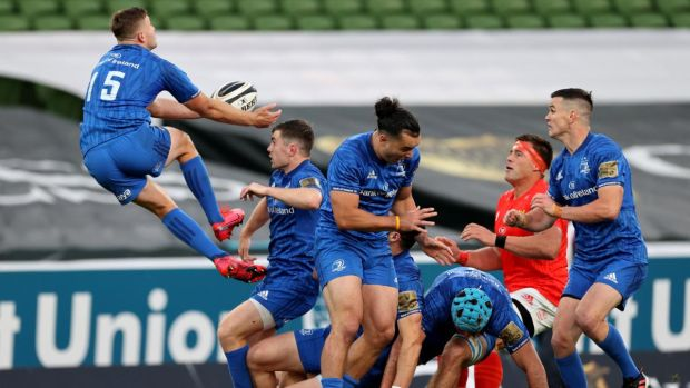 Leinster fullback Jordan Larmour catches a high ball during the Guinness Pro 14 semi-final at the Aviva Stadium. Photograph: Billy Stickland/Inpho