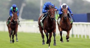 Ghaiyyath ridden by jockey William Buick on the way to winning the Juddmonte International Stakes at York on August 19th. Photograph: David Davies/Getty Images