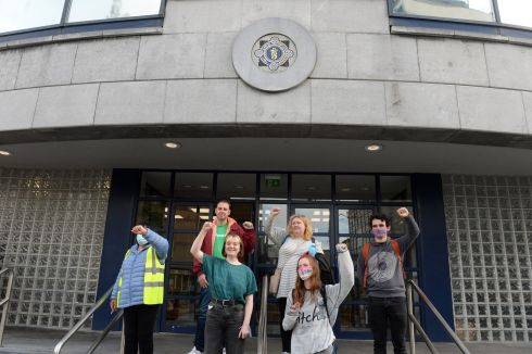 DEBENHAMS ROW: Ex-Debenhams staff and supporters who were arrested for occupying a Debenhams store in Dublin, pictured after their release. Photograph: Dara Mac Dónaill/The Irish Times