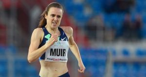 Britain's Laura Muir on the way to winning the 800m at the IAAF Golden Spike  meeting in Ostrava, Czech Republic. Photograph: Michal Cizek/AFP via Getty Images