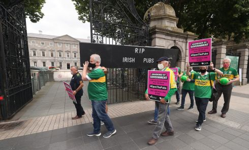 Bar owners from Co Kerry carry out a mock funeral outside Leinster House in Dublin, calling for Government support for rural publicans as a result of the coronavirus pandemic. Photograph: Niall Carson/PA