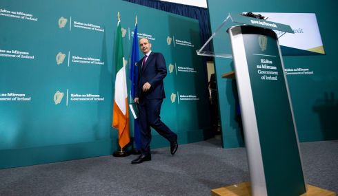 Taoiseach Micheal Martin arriving at the media briefing on the 2020 Brexit plan for publication on Wednesday. Photograph: Julien Behal