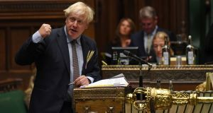 Boris Johnson during prime minister's questions in the House of Commons, London, Britain. Photograph: UK parliament/Jessica Taylor/PA Wire