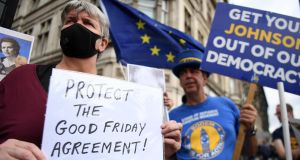 Pro-EU protesters demonstrate outside the houses of parliament in London on Wednesday. Photograph: Andy Rain/EPA